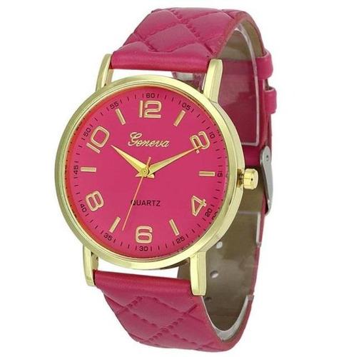 Relógio Feminino Geneva Dourado Pulseira Matelassê Pink