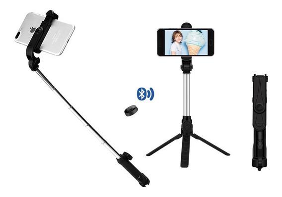 Pau De Selfie Bastão Ajustável Tripé Controle Bluetooth