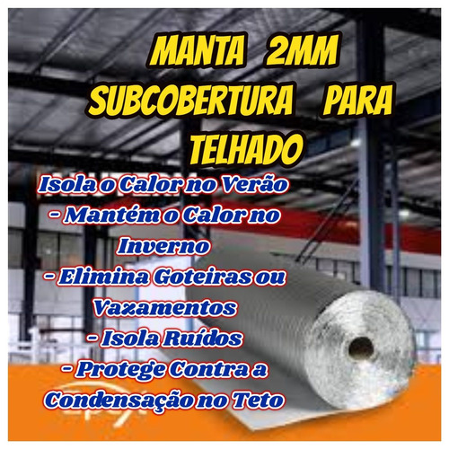 Imagem 1 de 10 de Manta Acustica E Termica 2mm P/subcobertura Kit C/35 Mts² ..
