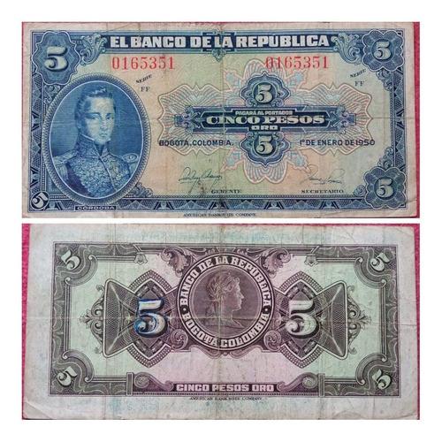 Imagen 1 de 1 de Billete De 5 Pesos Oro De 1950.