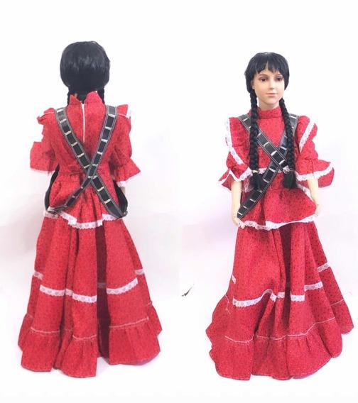 Vestido Carrilleras Adelita Rojo Revolucionaria Niña Escolar