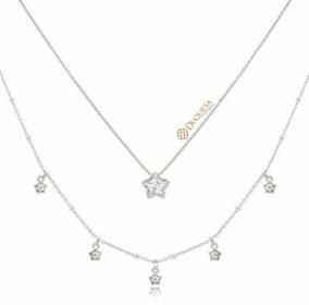 Colar Duplo Ródio Branco Com Zircônia De Estrela - Duquesa S