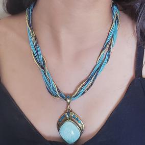 Colar Feminino Indiano Azul Com Pedra