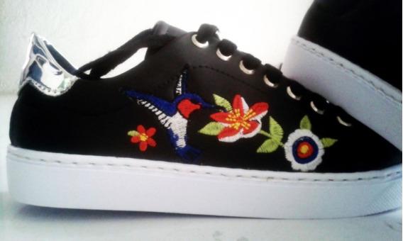 Zapatos De Deportivos Para Dama Con Flores