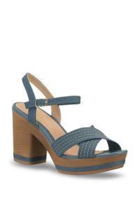 Sandalia Ankle Strap Color Azul Alt.10 Cms Mod 256-7464