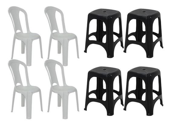 Cadeira Plástico S/ Braço Tramontina Eco154 C/ Banqueta 8pçs