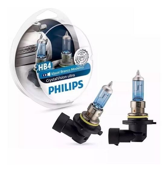 Kit Lampada Philips Crystal Vision Ultra 4300k Hb4 + Pingo