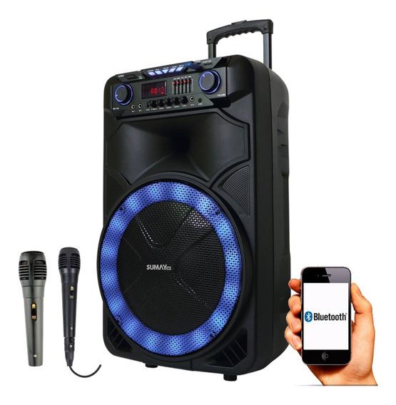 Caixa De Som Com Bluetooth Sumay - 1000w 2 Microfones
