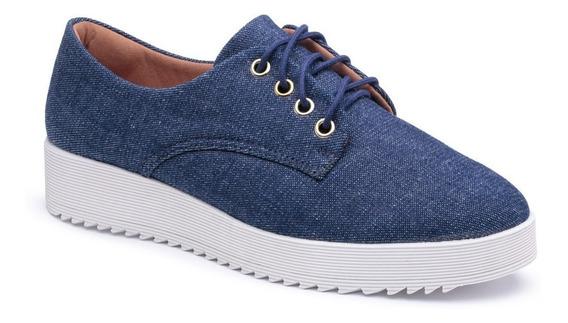 Tênis Sapatênis Feminino Tenehi Flat Form Tratorada Jeans