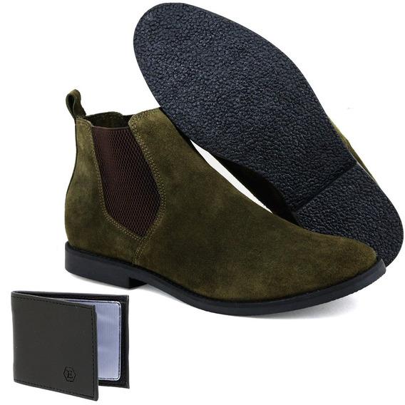 Botina Chelsea Boots Verde Militar Couro Camurça + Brinde