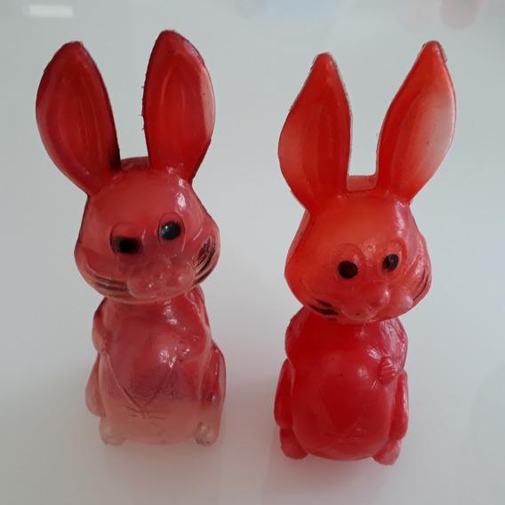 2 Coelhos Plástico Bolha Antigos Brinquedo Anos 70/80