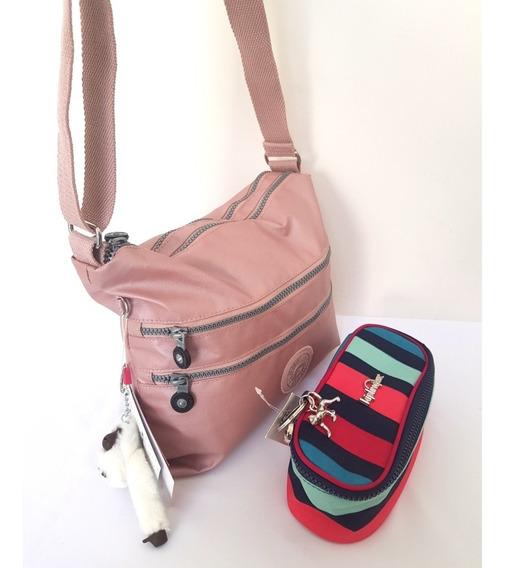 Bolsa Rosa Metalizado × Estojo Listrado