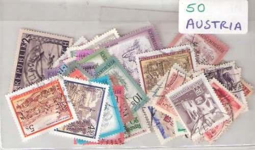 Lote De 50 Estampillas De Austria Distintas ¡ Oferta !