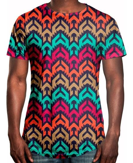 Camiseta Masculina Longline Oversized Vetor Tribal Swag