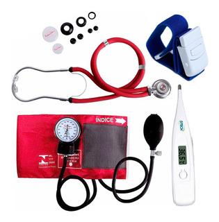 Kit Enfermagem Acadêmico Esfigmomanômetro Estetoscopio Vinho