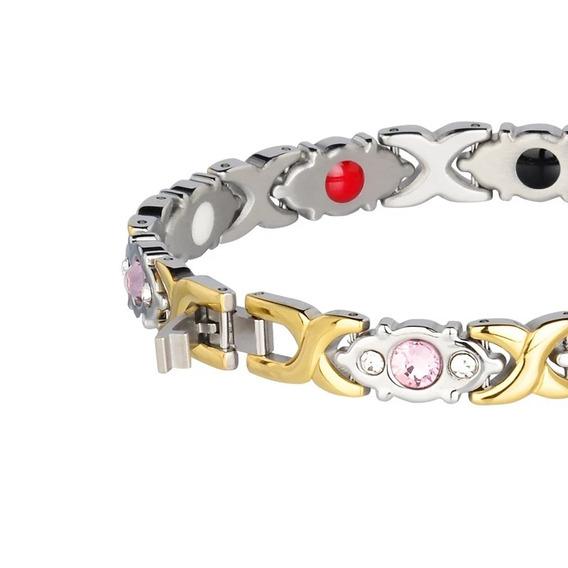 Pulseira Bracelete Feminina Banhada Ouro 18k 750 Magnética