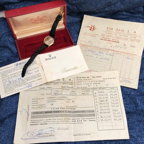 Rolex Ouro 18k Maciço C/ Caixa Certificado Nota Fiscal Raro!