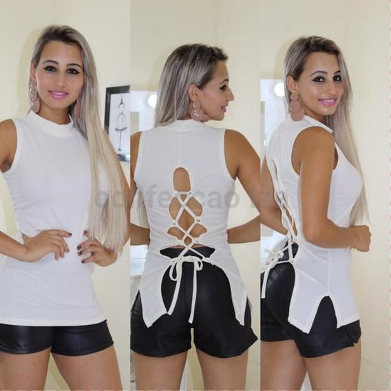 Blusa Camiseta Feminina Gola Coleira Pronta Entrega