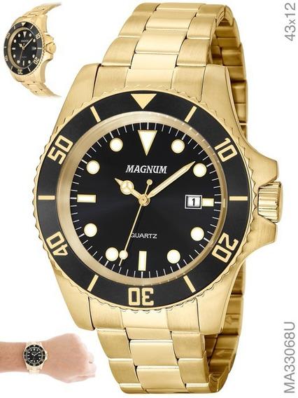 Relógio Magnum Masculino Ma32934u, Dourado, Banhado A Ouro.