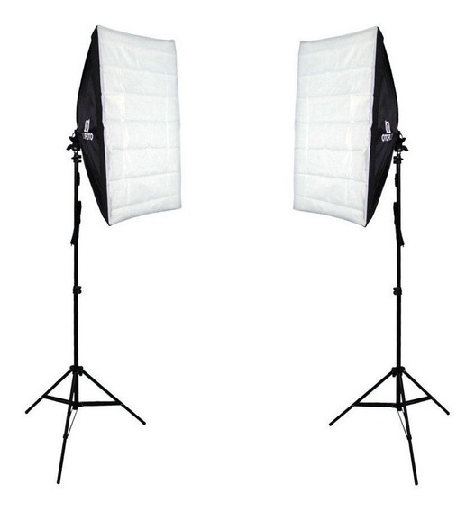 Kit De Luz Softbox Duplo Para Estúdio Fotográfico E Video