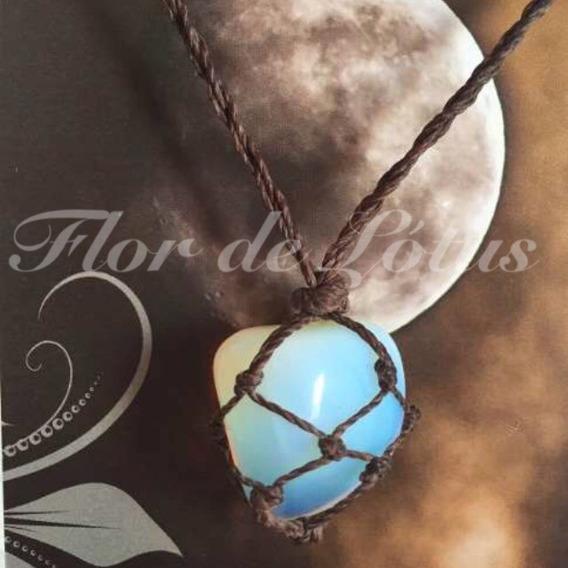 Colar De Pedra Da Lua Opalina Hippie Castroada C/ Fio Marrom