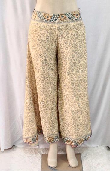 Calça Pantalona Indiana, Em Seda, Estampada, Bege