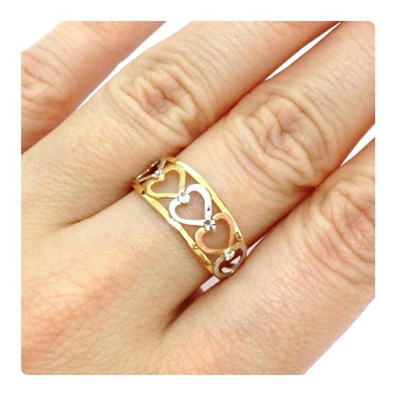 Anel Coração 3 Tipos De Ouro 18k Rose Amarelo Branco
