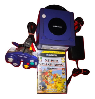 Consola Gamecube Púrpura Con Smash Bros Melee.