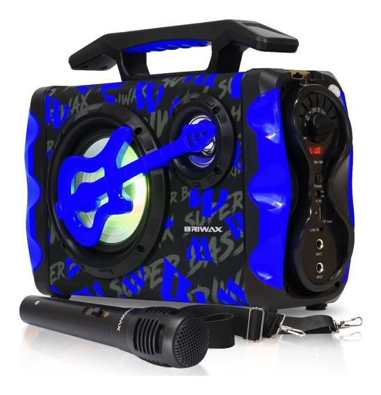 Caixa Som Bluetooth Portátil Rádio Fm Usb Controle Microfone