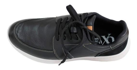 Sapato Tênis Masculino Couro Preto Usaflex Conforto R9802