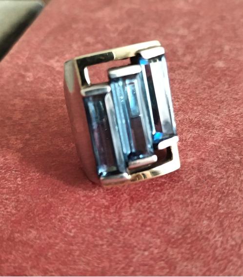 Lindo Anel Em Prata 950 Com Topázio Azul. Aro 17