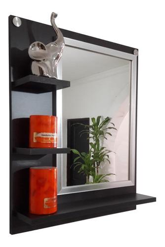 Repisa Con Marco Espejo Para Baño, Sala,estante, Gabinete