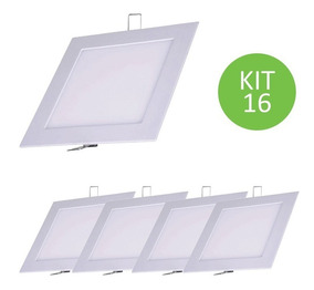 Plafon Painel Led Embutir 9w Branco Quente Quadrado Kit 16