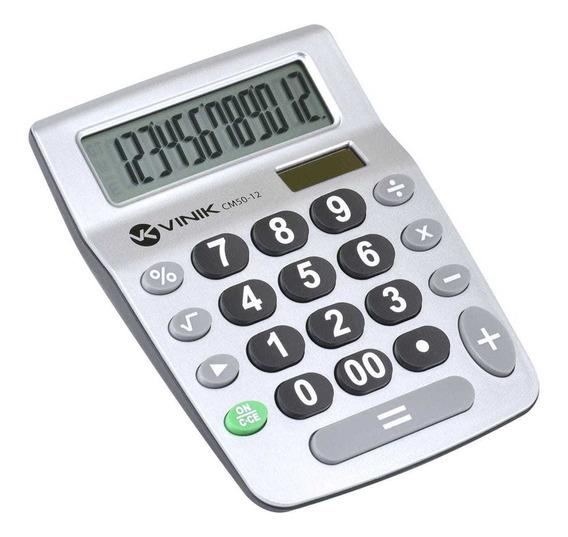 Calculadora De Mesa 12 Dígitos Alimentação Solar/pilha -cm50