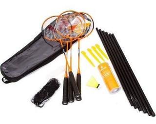 Kit Vollo Badminton - 4 Raquetes, 3 Petecas Rede E Suportes