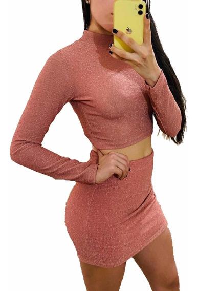 Conjunto Mujer Crop Top Más Pollera Lurex Moda Sexy Dama