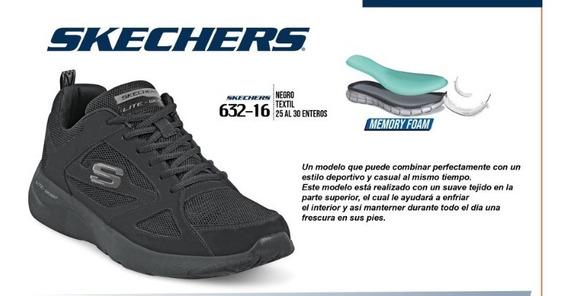 Tenis Caballero Skechers Negro 632-16 Cklass Sport 3-19p