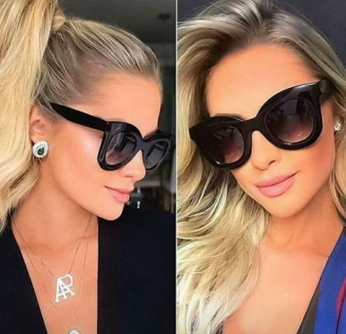 Óculos Importado Quadrado De Sol Feminino Preto Lente Escura