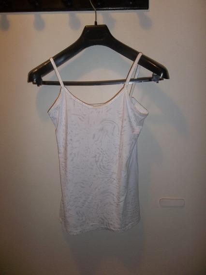 Musculosa Dama Color Blanco Con Plateado.