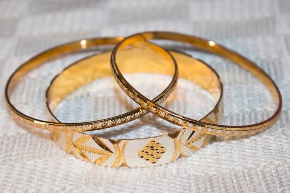 Braceletes Importados Da Índia Dourado 3 Unidades