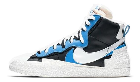( 42 ) Tênis Nike Sacai Blazer Mid Black White Blue