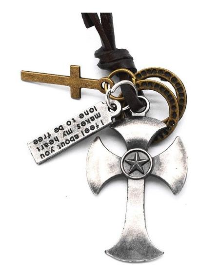 Colar Masculino Cordão De Couro Pingente Cross Corrente