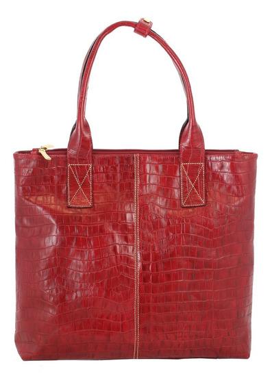 Bolsa Feminina Smart Bag Croco Couro Legítimo 75283