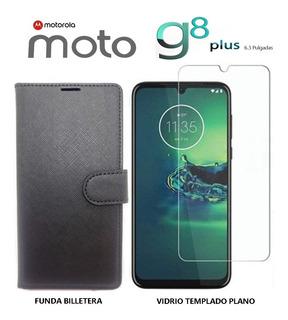 Funda Billetera + Templado Plano Motorola Moto G8 Plus