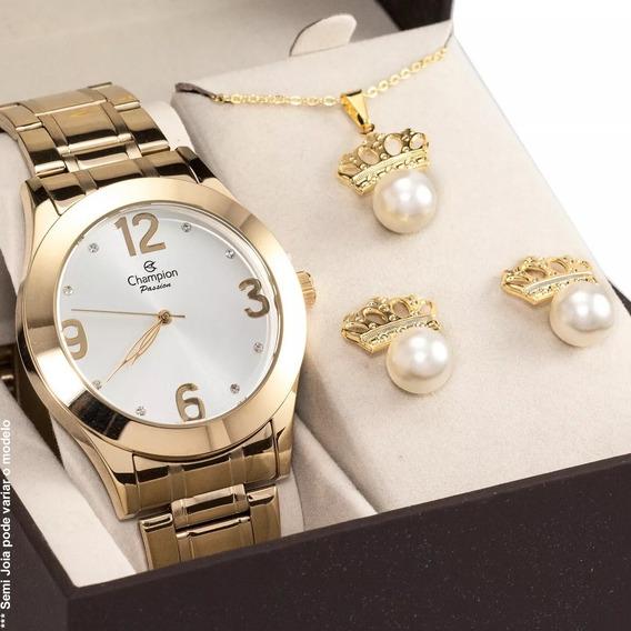 Relógio Feminino Dourado Champion Ch24268d Kit Colar Brincos