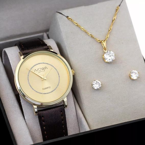 Relógio Nowa Dourado Couro Feminino Nw1412k