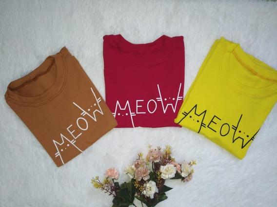 Tshirt Meow Infantil 100% Algodão Blogueirinha Mini Diva