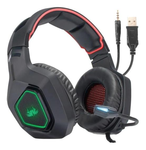 Fone de ouvido gamer Knup KP-488 preto e vermelho