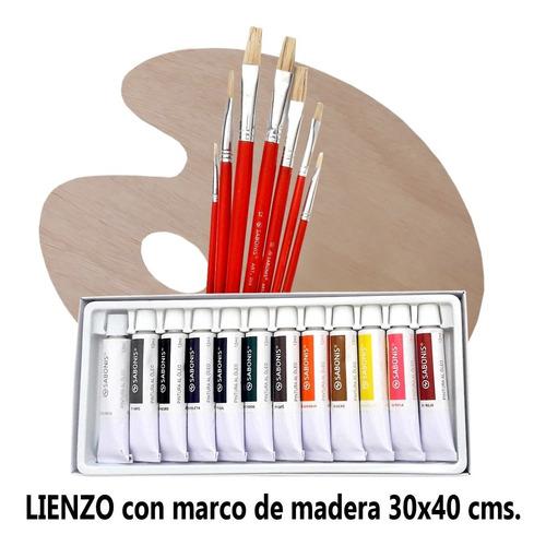 Lienzo 30x40, Paleta De Pintor, Pinceles Y 12 Oleos,