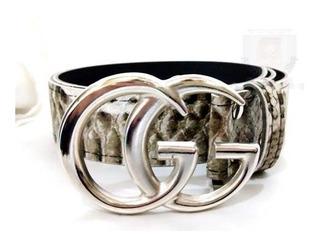 Cinto Cinturon Gucci Hebilla Plateada